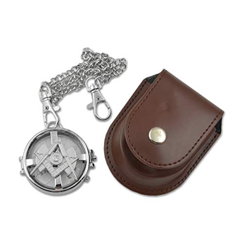 Spinning Square & Compass Silver Masonic Pocket Watch - 2