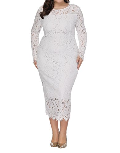 Hopeverl Women\'s Plus Size Lace Dress Long Sleeve Maxi Dress Wedding Party  Gown