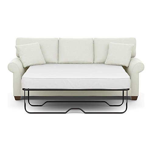 Ethan Allen Bennett Roll-Arm Sofa, 86″ Sleeper, Hailey Ivory Textured Fabric