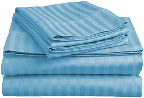 (Lux Decor Collection Bed Sheet Set - Brushed Microfiber 1800 Bedding - Wrinkle, Stain and Fade Resistant - Hypoallergenic - 4 Piece (King, Striped Blue))