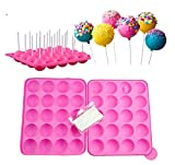 Kisweet 2 Sets 20-Capacity Silicone Lollipop Mold 20-Cavity Round Chocolate Hard Candy Cake Pop Mold