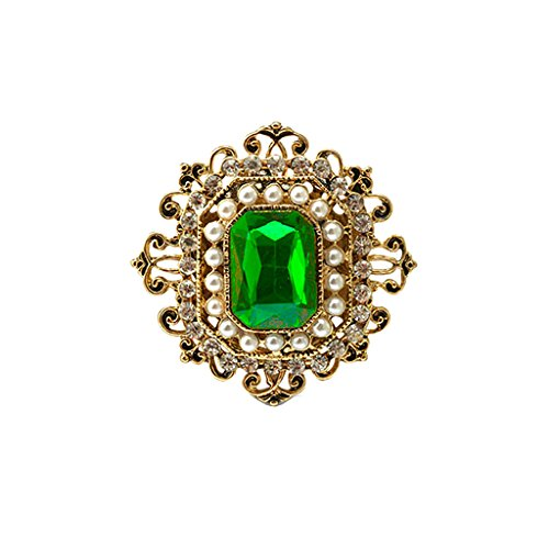 MagiDeal Retro Victorian Crystal Emerald Flower Brooch Pin Ladies Accessories Gift (Crystal Emerald Brooch)