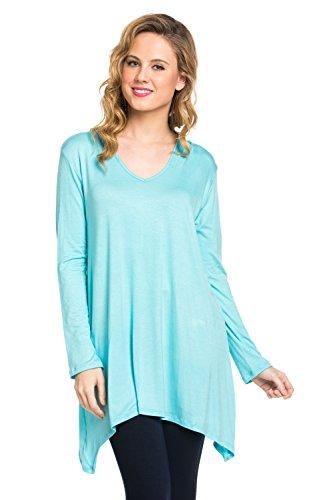 Frumos Womens Tunic Long Sleeve Hoodie Tunic Top Aqua Large