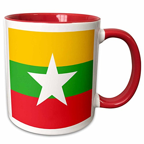 3dRose InspirationzStore Flags - Flag of Myanmar Burma - Burmese yellow green red stripes with white star - Asia country world flags - 15oz Two-Tone Red Mug (mug_158288_10)
