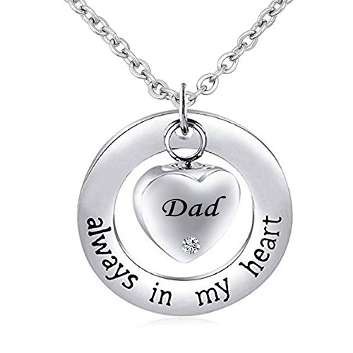 JewelryJo ~ Always in My Heart ~ Ring Heart Pendant for Dad Urn Necklace for Ashes Cremation Keepsake