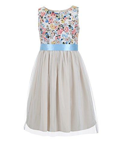 Mesh Emma Dress - Emma Riley Girl's Cotton Floral Party Dress with Tulle Mesh Skirt 10 Blue Belt