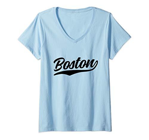 Womens Boston Vintage 70s Classic Retro Massachusetts V-Neck T-Shirt ()