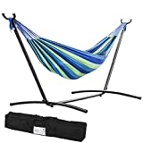 The double hammock is made with 100-Percent cotton, creating a comfortable refuge for an afternoon snuggle. The space-saving 9-Foot stand is constructed of heavy duty steel and assembles in minutes without any tools.It Is Not Only Easy To Use, But Al...