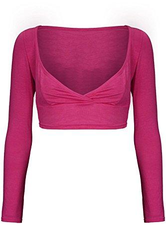 Oops Outlet Women's Long Sleeve V Neck Wrap Cross Over Bralet Crop Cropped Top M/L (US 8/10) Cerise