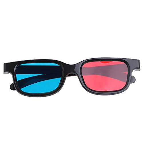 Efferre Field Universal 3D Glasses For Movie Game DVD, Black Frame, Red Blue Cyan Anaglyph ( 0.2mm,Pack of 6 )