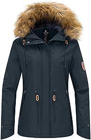 Wantdo Women's Ski Jacket Fleece Lining Winter Coat with Detachable