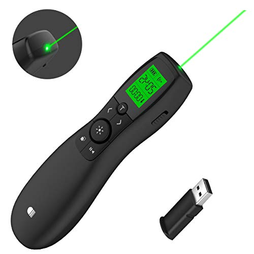 Presentation Remote Green Laser, Wireless Presenter Laser Pointer, Presentation Clicker LCD Display with Timer Rechargeable PPT PowerPoint Clicker for Office Teacher