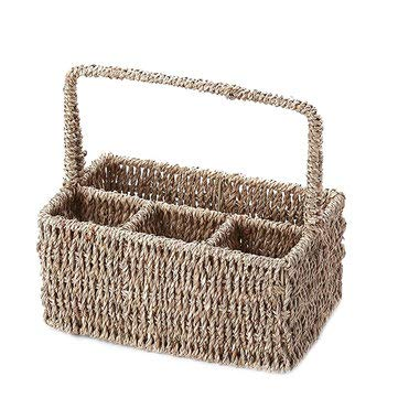 24x17x27cm 4 Compartment Straw Storage Baskets Camping Picnic Cutlery Condiment Woven Baskets - Outdoor Bag Travel & Storage Bags - (Natural) - 1 x Airconditioner Fan -