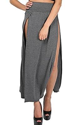 Be Jealous Women's Double Split Slit Cutout High Waisted Swing Skater Midi Skirt