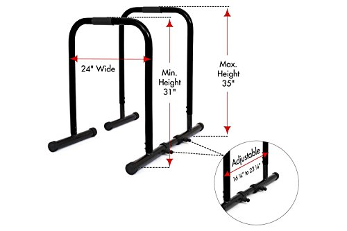 ProsourceFit Dip Stand Station, Heavy Duty Ultimate Body Press Bar with Safety Connector for Tricep Dips, Pull-Ups, Push-Ups, L-Sits, Black by ProsourceFit (Image #1)