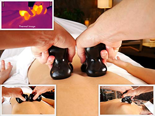 Sublime (Onyx)(Single) Synergy Stone - Contoured Hot Stone Massage Tool - Relaxing and Therapeutic for Neck, Back, Legs, Feet - Ultra-Smooth for Massage on Skin with Oil or Over Clothes