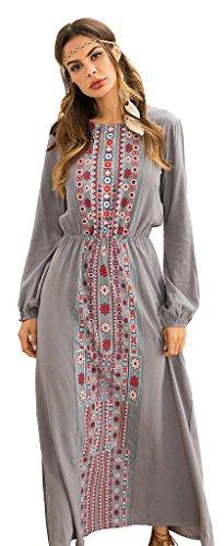 Ababalaya Women's Casual Loose O-Neck Ethnic Style Print Long Sleeve Maxi Muslim Dress,Gray,M=US Size 0-2 by Ababalaya