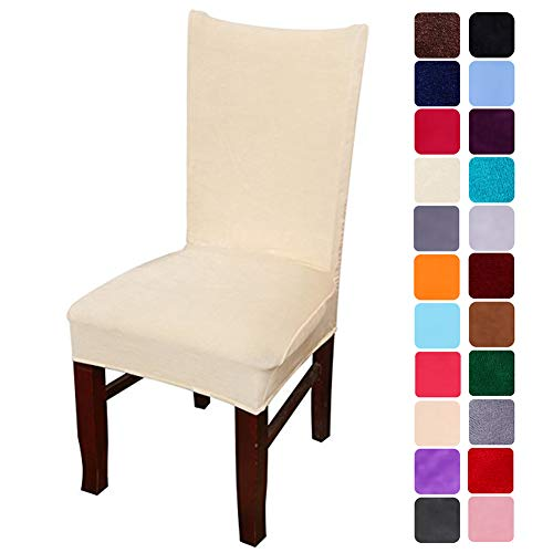 smiry Velvet Stretch Dining Room Chair Covers Soft Removable Dining Chair Slipcovers Set of 4, Beige
