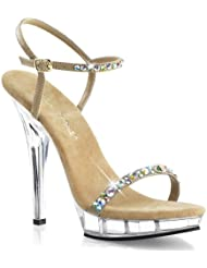 Fabulicious LIP-131 Women 5 Heel, 3/4 PF Ankle Strap Sandal w/Rhinestones Embellishment