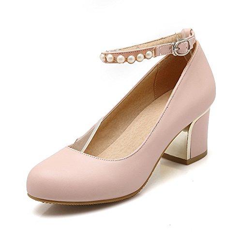 VogueZone009 Damen Schnalle PU Leder Rund Zehe Hoher Absatz Rein Pumps Schuhe, Pink, 43