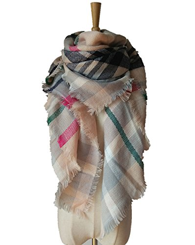 Best Zombie Outfits (MIGAGA Soft Plaid Blanket Scarf Stylish Large Winter Warm Tartan Pashmina Wrap Shawl (Pink Grey))