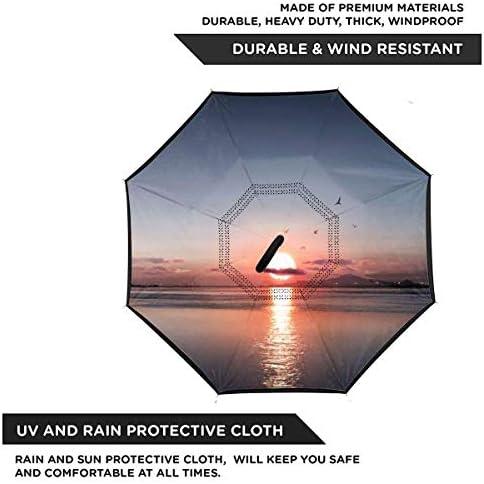 Sunset ユニセックス二重層防水ストレート傘車逆折りたたみ傘C形ハンドル付き