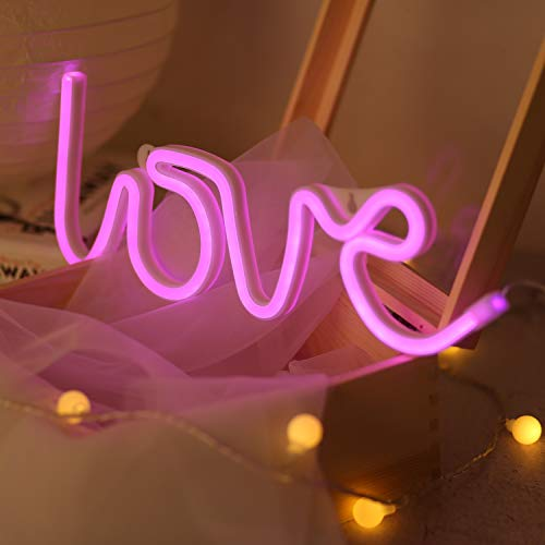 Battife Neon Signs LED Light Wall Night Light, USB or Battery Operated,Love Shaped for Bedroom, Home Accessories, Living Room, Party and Holiday Decorations Gifts (Love) ()
