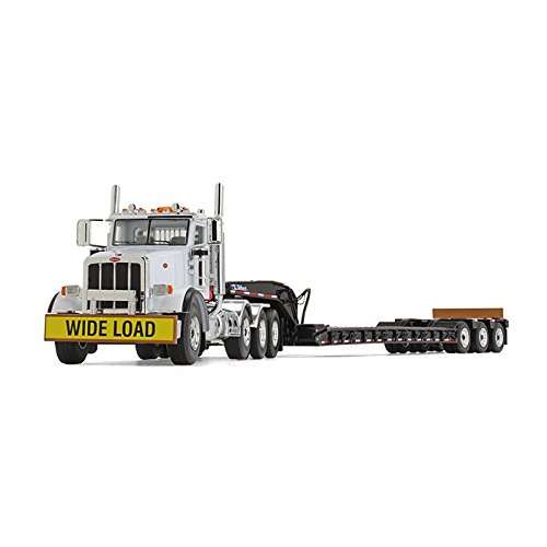 Peterbilt Tractor Trailer Diecast Toy - First Gear 1/50 scale Diecast Collectible Komatsu Peterbilt Model 367 with Tri-Axle Lowboy Trailer (#50-3349A)