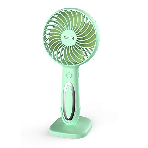 XttnBM Small Personal Desk Fan with 3-Speed and LED Lamp Portable Mini Cooling and Light for Outdoor Camping Travel Home Dorm Office Kids Rechargeable Battery Operated or Powered by USB Port (Green) ()