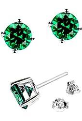 .925 Sterling Silver 6mm Green Round Shape Cubic Zirconia Stud Earrings