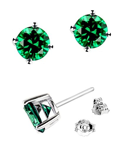 925-Sterling-Silver-6mm-Green-Round-Shape-Cubic-Zirconia-Stud-Earrings