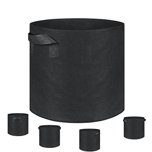 Grow Bags, Fabric Planter, 5-Pack 10 Gallon Plantmate Flower Plant Hydroponic Aeration Fabric Pot Container with Handles (Black)