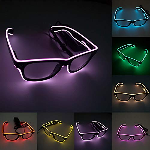 Glumes Wire Glow Glasses Led DJ Bright Light Safety Light Up Multicolor led Flashing Glasses for Carnival Halloween Christmas Birthday Party