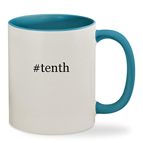 10th Doctor Costume Blue Suit (#tenth - 11oz Hashtag Colored Inside & Handle Sturdy Ceramic Coffee Cup Mug, Light Blue)