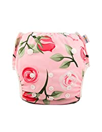 babygoal Reusable Swim Diaper, One Size Adjustable and Washable Swim Underwear Fits 0-2 Years Babies and Swimming Lessons FSW05-CA Rose