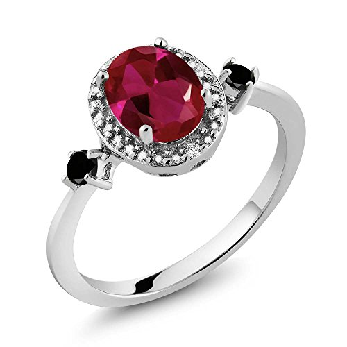 1.29 Ct Oval Diamond (1.29 Ct Oval Red Created Ruby Black Diamond 925 Sterling Silver Ring With Accent Diamond)