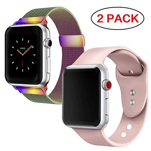 FanBandShop Compatible for Apple Watch Band 38mm 40mm,Milanese Loop Stainless Steel Mesh with Magnetic Clasp with Sport Silicone Replacement Band Compatible for iWatch Series 4,3,2,1,Colorful