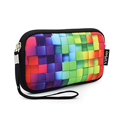 "Unisex Shockproof Neoprene Wristlet Wallet Clutch Purse, Coin Pouch, Pencil Bag, Cosmetic Bag Zipper Closure, 7"" x 4"" (Colorful Mosaic Print)"