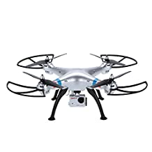 Syma X8G 2.4Ghz 4CH Headless Mode RC Quadcopter with 8MP HD Camera (Silver)
