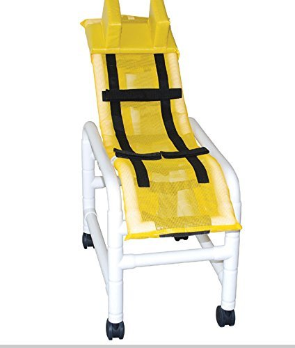 (MJM International 191-MC-B-HB Reclining Bath Chair Medium with Double Base and Head Bolster, 130 oz Capacity, 47