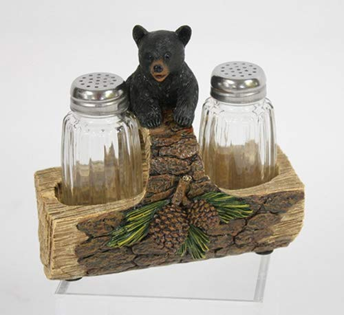 Black Bear on Log 6 x 4.5 x 6 Inch Resin Crafted Salt and Pepper Shaker Set