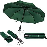 Regenschirm Taschenschirm - VON HEESEN - sturmfest bis 140 km/h - inkl. Schirm-Tasche & Reise-Etui - Auf-Zu-Automatik, klein, leicht & kompakt, Teflon-Beschichtung, windsicher, stabil