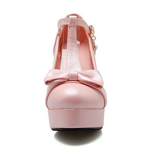 YE Damen Süß T-Strap Blockabsatz High Heels Plateau Pumps mit Schleife 10cm Absatz Schuhe Rosa