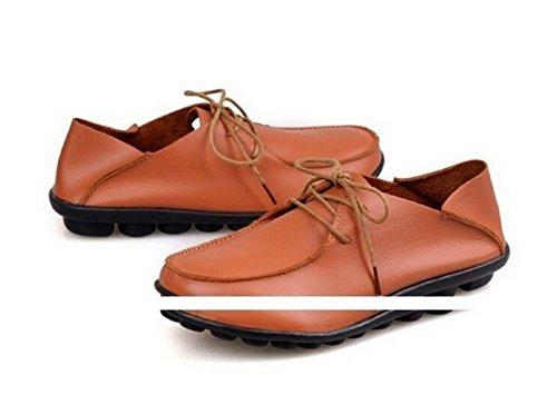 Mocassin femme en cuir, chaussures femme à lacets, chaussures femme en cuir veritable, mocassin femme tendance mode 2015 - Arancione, 39