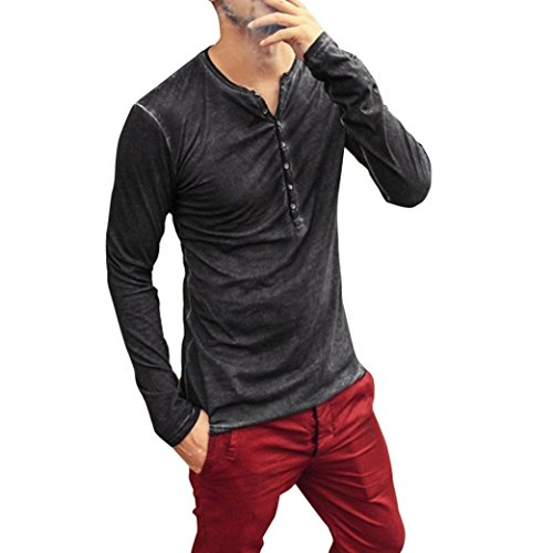 Clearance! Men Stylish Autumn Casual Shirt Vintage Slim Fit Long Sleeve Placket Button V-Neck T-Shirt Plain Henley Tops (XXL, Black 001) ()