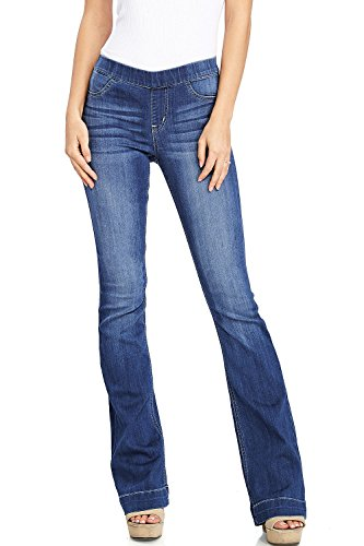 Cello Women's Juniors Mid Waist Skinny Fit Bootcut Pants (L, Medium - Womens Flare Stretch Jeans