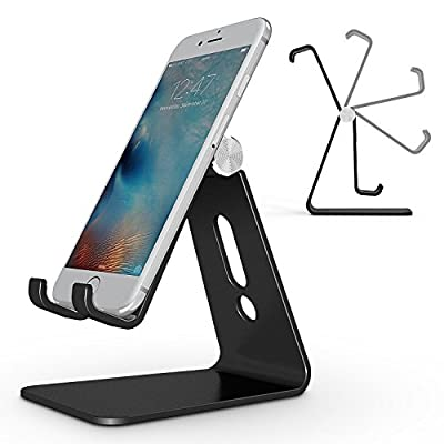 Adjustable Cell Phone Stand, OMOTON Desktop Cell Phone Stand Tablet Stand, Advanced 4mm Thickness Aluminum Stand Holder for Mobile Phone and Tablet (Up to 10.1 inch) ...
