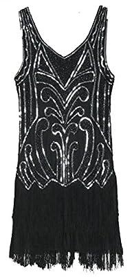MESISAN Women's 1920s Flapper Dresses V Neck Vintage Gatsby Bead Sequin Fringed Great Gatsby Dress