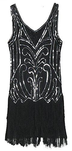 fc9dacee35d1e MESISAN Women s 1920s Flapper Dresses V Neck Vintage Gatsby Bead Sequin  Fringed Great Gatsby Dress