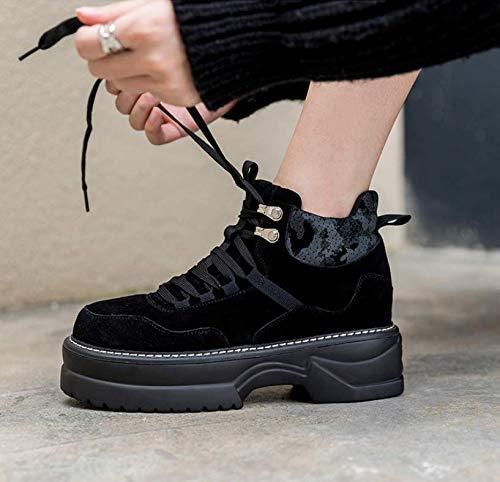 TSNMNB Zapatos de Plataforma de Suela Gruesa de Cuero Femenino de otoño con Cordones Botas Martin versión Coreana de los Botines de Encaje Salvaje Negro